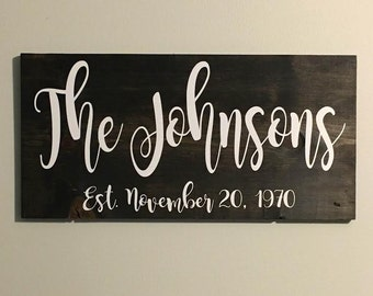 Custom Sign | Family Name Sign |  Established Sign | Personalized Wood Sign