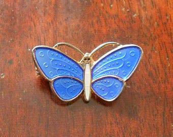 Vintage Norwegian Silver Blue Enamel Butterfly Brooch, Art Deco 925 Silver Brooch, Gold Wash, Aksel Holmsen