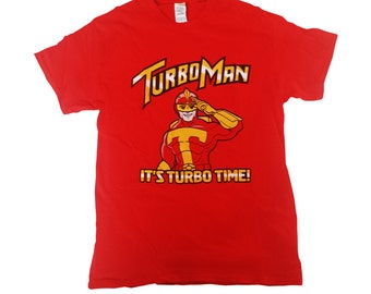 Turbo Man T-shirt It's Turbo Time Jingle All The Way Christmas Movie Shirt Gift Superhero Toy Action Figure 90's Turboman Adult Red