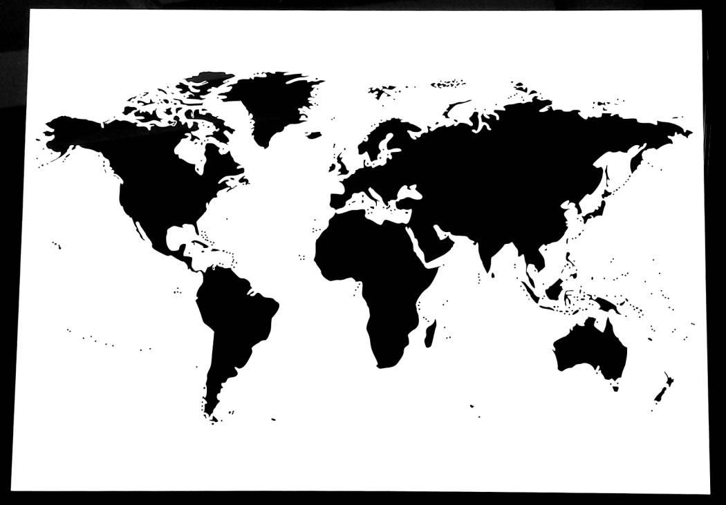 monde carte pochoir 190 microns mylar carte du monde. Black Bedroom Furniture Sets. Home Design Ideas