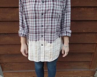 Cream/Red to Cream Ombre Flannel