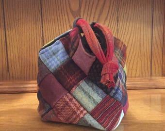 Bitty Patchwork Wool Drawstring Bag