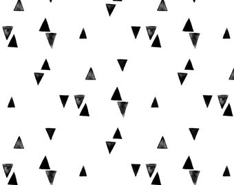Watercolor Triangles Quilting Fabric. Fabric by the Yard. Cotton Knit Jersey Minky. Geometric Triangle Monochrome Black and White Minimalist