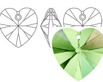 Swarovski 6228 Crystal Heart Pendant 18mm Peridot AB 1PC 3PC
