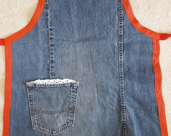 Upcycled denim apron, red trim, eyelet pocket, upcycled jeans apron, country kitchen, recycled denim apron, repurposed denim, kitchen apron
