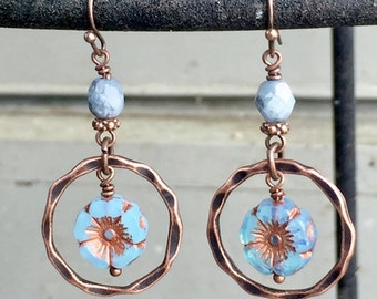 Blue Czech Glass and Copper Earrings, Blue Czech Glass Flower Earrings, Copper Hoop Earrings, Unique Flower Earrings