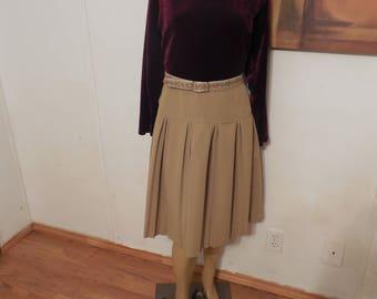 Vintage Tan Accordion Midi Skirt / Vintage Beige Pleated Midi Skirt