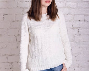White knit sweater merino wool womens sweater white knit pullover handknitted oversized sweater white wool pullover gift for wife girlfriend