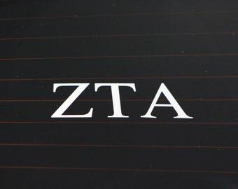 Zeta Tau Alpha | White Adhesive Decal