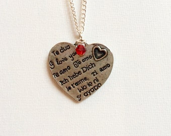 Language of Love Necklace // Silver and Red Swarvoski Crystal // I Love You // Ich Liebe Dich // Te Amo