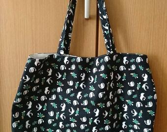 Japanese Cute/Kawaii Tote Bag - Cranes and Turtles, Black Background (A)