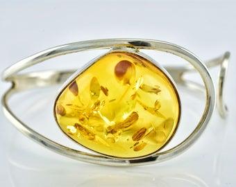 Cognac Amber Bracelet, Amber Silver Bracelet, Cognac Amber, Cognac Bracelet, Bangle Bracelet, Amber Jewellery, Adjustable Amber Bracelet,