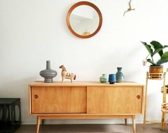 teak mirror, vintage, danish design, midcentury, made in denmark, round, livingroom, bedroom, entry, eclectic, interior, mirror