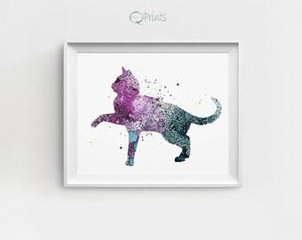 Cat Art Printable, Digital Cat Print, Home Decor Cat, Cat Illustration, Watercolor Cat Print, Large Printable Art, Cat Room Decor, Gift