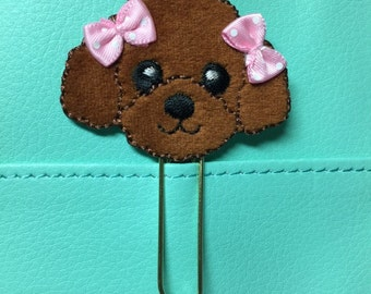 Puppy with Pink Bows Planner Clip, Bookmark, Paperclip, Planner Accessory, Organizer