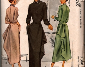 """McCall 1940 Assymetrical sweep, peplum thingy...WOW! Dress Pattern, Size 16 34"""" bust used, complete  # 7866"""