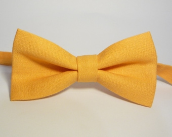 Light Orange Linen Bow Tie, Wedding Bow Tie, Groomsmen Bow Tie, Mens Bowtie, Baby Bow Tie, Boys Bow Tie, Adjustable Bow Tie