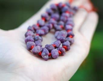 Rough Cut Ruby Beads / Ruby Nuggets / 7-10mm / 5 Pieces / GEM030