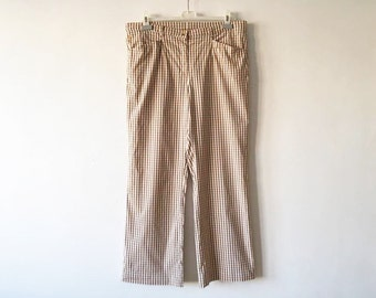Pastel Beige Brown Plaid Pants Beige Brown Plaid Golfer Trousers Checkered Golf Slacks Plaid Brown Formal Size XL Large Plaid Golf Pants