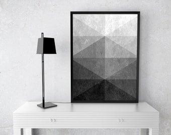 "Grey, Scandinavian Art, Modern Art, Minimalist Art, Triangle Art, Geometric Art, Home Decor, Digital Print ""Silence"""