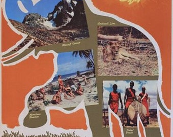 Vintage East African Airlines Flights to Kenya Poster A3 Print