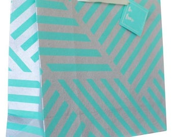 Cotton Gift Bag :  Geometric ZigZag Teal Green & Silver