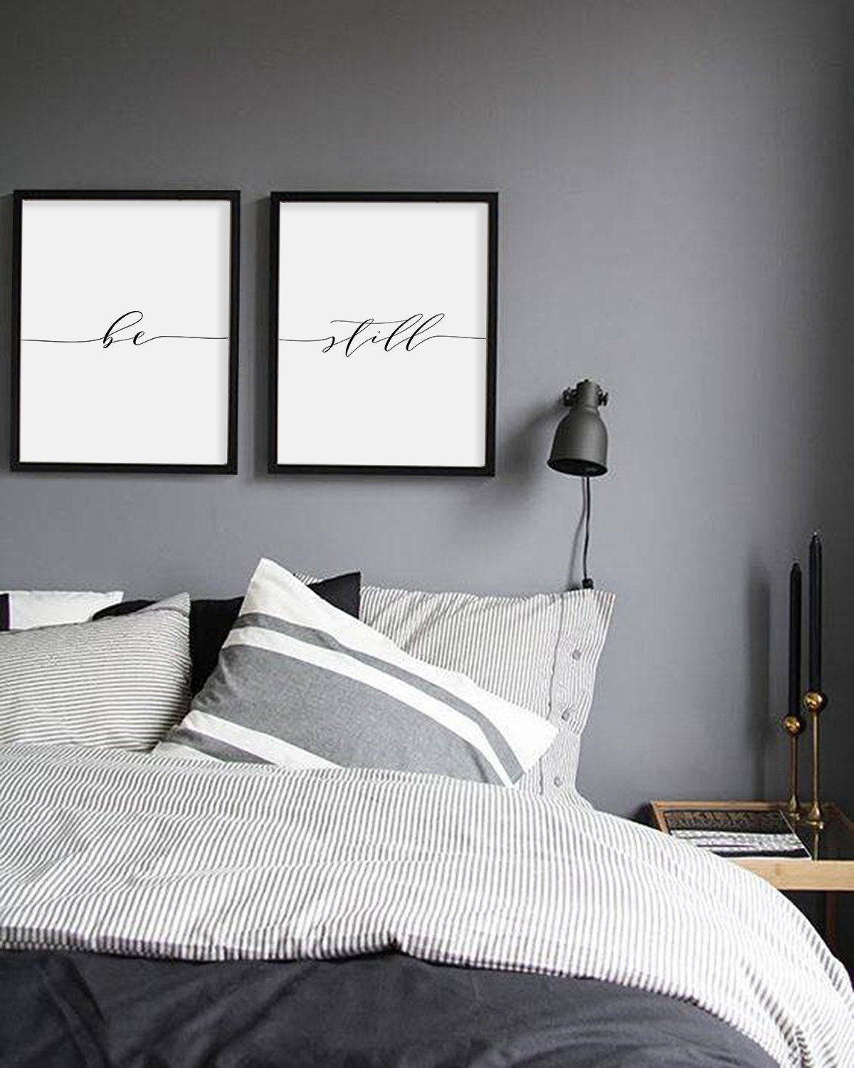 Be still print minimalist typography art bedroom print be for Minimalist single bedroom