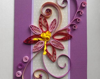 purple quilled flower, purple flower card, quilling card, quilling, quilling greeting card, quilled cards, quill ornaments card, quill card