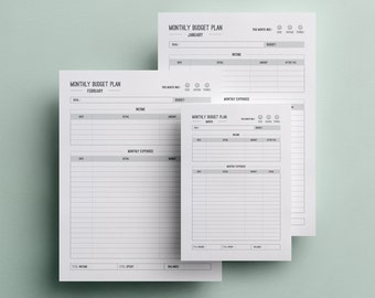Monthly Budget Plan - A4, A5 and Letter Size Expense Tracker - Budget Goals - Finance Planner - Income Tracker - Monthly Expenses Printable