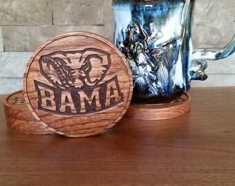 Wood Coasters - BAMA - Alabama, Roll Tide