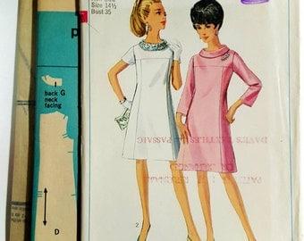 1967 Simplicity 7355 Misses Roll Collar Shift Dress Half Size 14.5 Uncut FF Sewing Pattern ReTrO Mod!