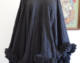 1980s Gothic Poncho Cape, Pom Poms, Knitted, Winter, Coat, Jacket, Pull over
