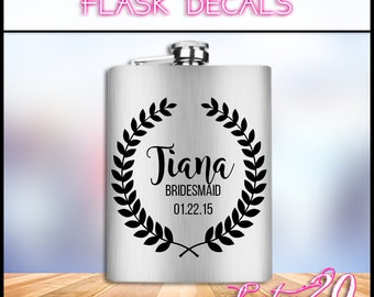 Personalized Flask Vinyl Decal | Wedding Decal | Flask Decal | Vinyl Decal | Flask Vinyl Decal | DIY Flask Decal | DIY Vinyl Decal