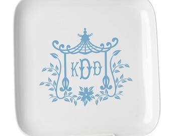 Chinoiserie Pagoda Style Decal with Monogram ~ From Aunt Fancy Designs - GORGEOUS!
