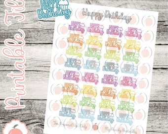 Printable Happy Birthday Stickers // Planner Stickers
