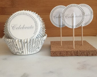 Celebrate Wedding Cupcake Kit, Liners and Toppers, Decorating Kit (24)