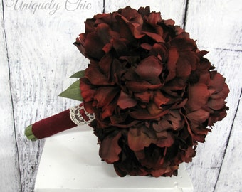 Wedding bouquet - Burgundy peony bouquet - Red Peony Wedding bouquet - Burgundy wine Bridal bouquet