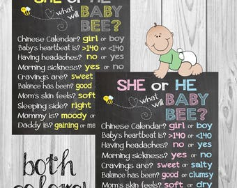 What will baby bee? Bee theme gender reveal party old wives tales chalkboard poster, what will it bee baby shower poster and shower game