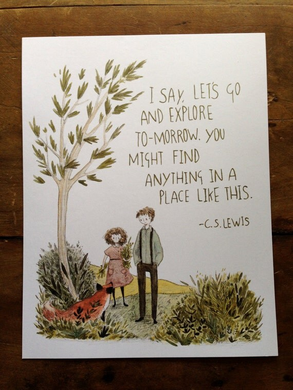 Let's Go And Explore - 8.5x11 print - watercolor illustration