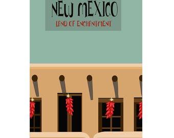 New Mexico, Original Graphic Poster - Adobe Building