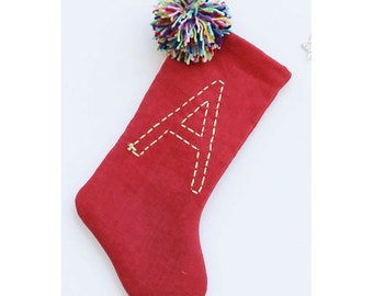 Personalized Christmas Stocking Pom Pom Christmas Stocking Kids Christmas Stocking Linen Stocking Red and Green Christmas Stocking