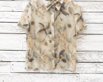 Vintage women blouse | Summer floral blouse | Flowers shirt | Transparent blouse with flowers | Floral transparent shirt