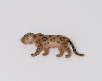 Vintage Large Flocked Leopard Pin
