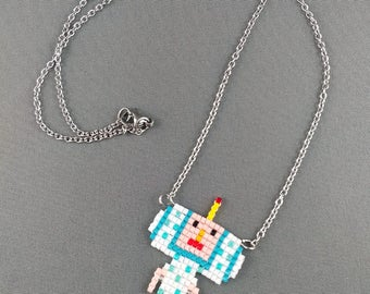 Katamari Cousin Necklace - June Necklace Pixel Necklace Katamari Necklace Pixel Jewelry 8 bit Necklace Seed Bead Neklace Video Game