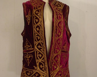 Vintage vest, velvet, gold embroidery, ethnic, boho, Pakistan vest, large, L