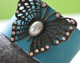 Cuff, blue cuff bracelet, leather cuff, butterfly bracelet, butterfly jewellery, festival jewellery, handmade by AnyaSophiaCo