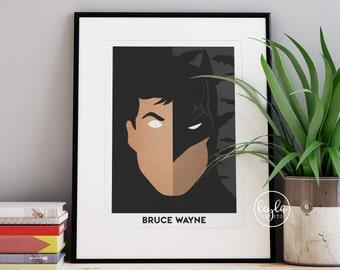 Batman Print - Bruce Wayne   A6/A5/A4/A3 Illustration Print   Movie Poster   Superhero Print   For Him, For Her