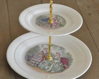 Vintage Salem Godey Prints Tiered Tea Stand/Cupcake Stand