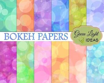 Bokeh Digital Paper, Party Printable Paper, Bokeh Backdrops, Commercial Use Bokeh Backgrounds Digital, Bokeh Scrapbook Paper, Bokeh Overlays