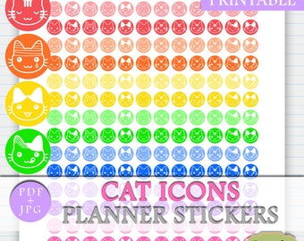 Cat Icons Printable Stickers, Cat Stickers Planner, Planner Icons Printable, Erin Condren Printable Icons Stickers, Icons Happy Planner